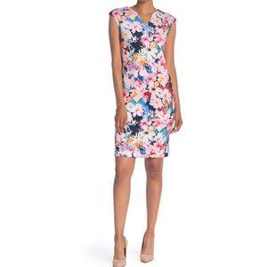 Tahari Floral V Neck Dress